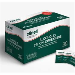 TOALLITAS DESINFECTANTES INDIVIDUALES DE CLORHEXIDINA 2% ALCOHÓLICA (CAJA DE 240 UDS)